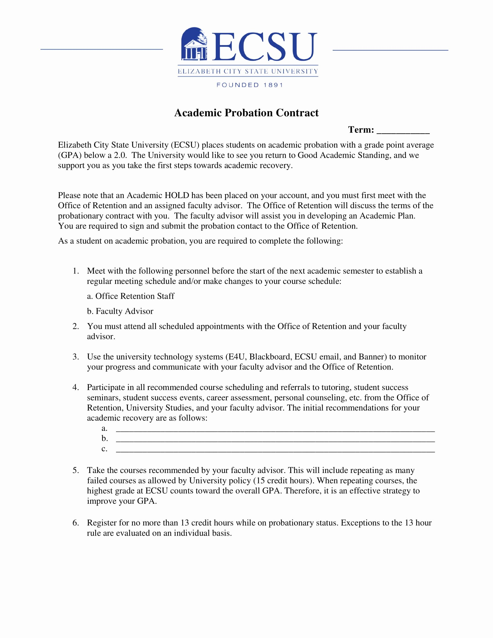 Student Academic Contract Template Luxury 9 Student Academic Contract Template Examples Pdf