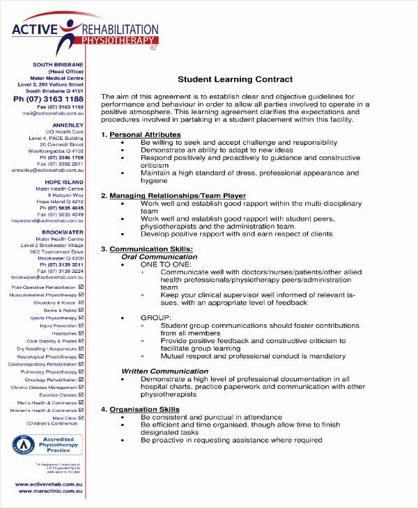 Student Academic Contract Template Luxury 9 Student Learning Contract Templates Pdf Word Google