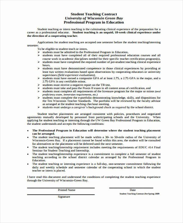 Student Academic Contract Template New 11 Student Contract Samples & Templates
