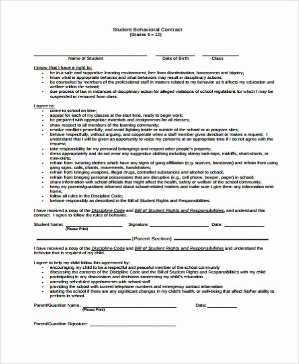 Student Academic Contract Template New 12 Student Contract Templates Free Sample Example