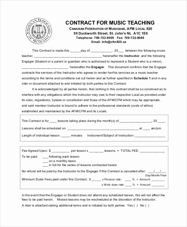 Student Academic Contract Template New 9 Teacher Agreement Contract Samples – Word Pdf