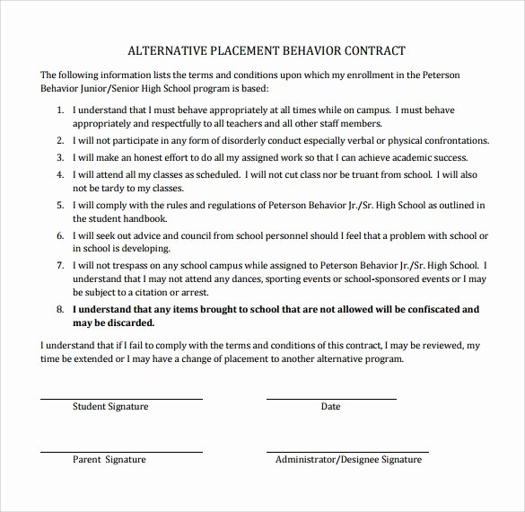 Student Academic Contract Template Unique Sample Behaviour Contract 15 Free Documents Download In