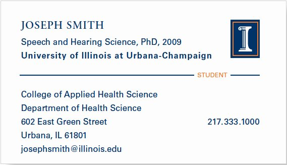Student Business Card Template Best Of Business Cards Identity Standards Illinois