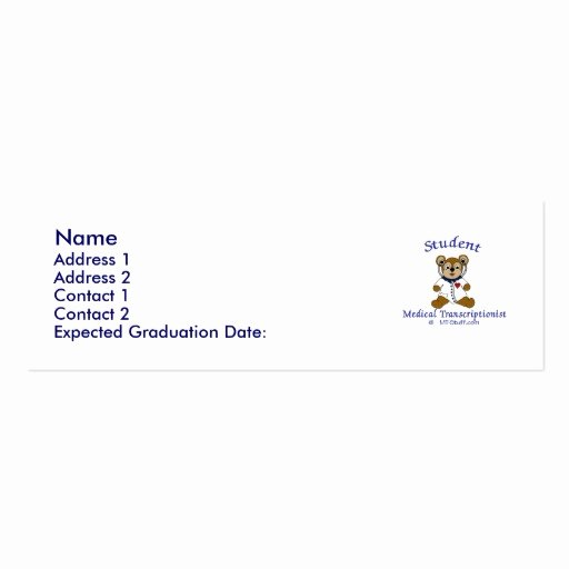 Student Business Card Template Lovely Mt Bear Student Mt Business Card Template