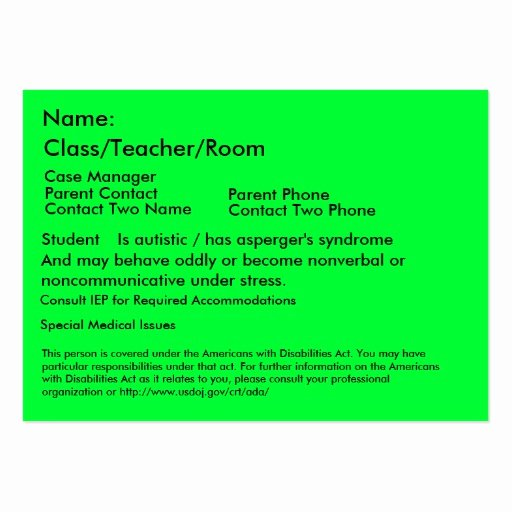 Student Business Cards Template Beautiful Autistic Student Card Business Cards Pack 100