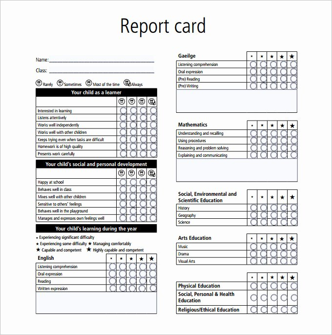 Student Report Card Template Awesome Report Card Template 28 Free Word Excel Pdf Documents