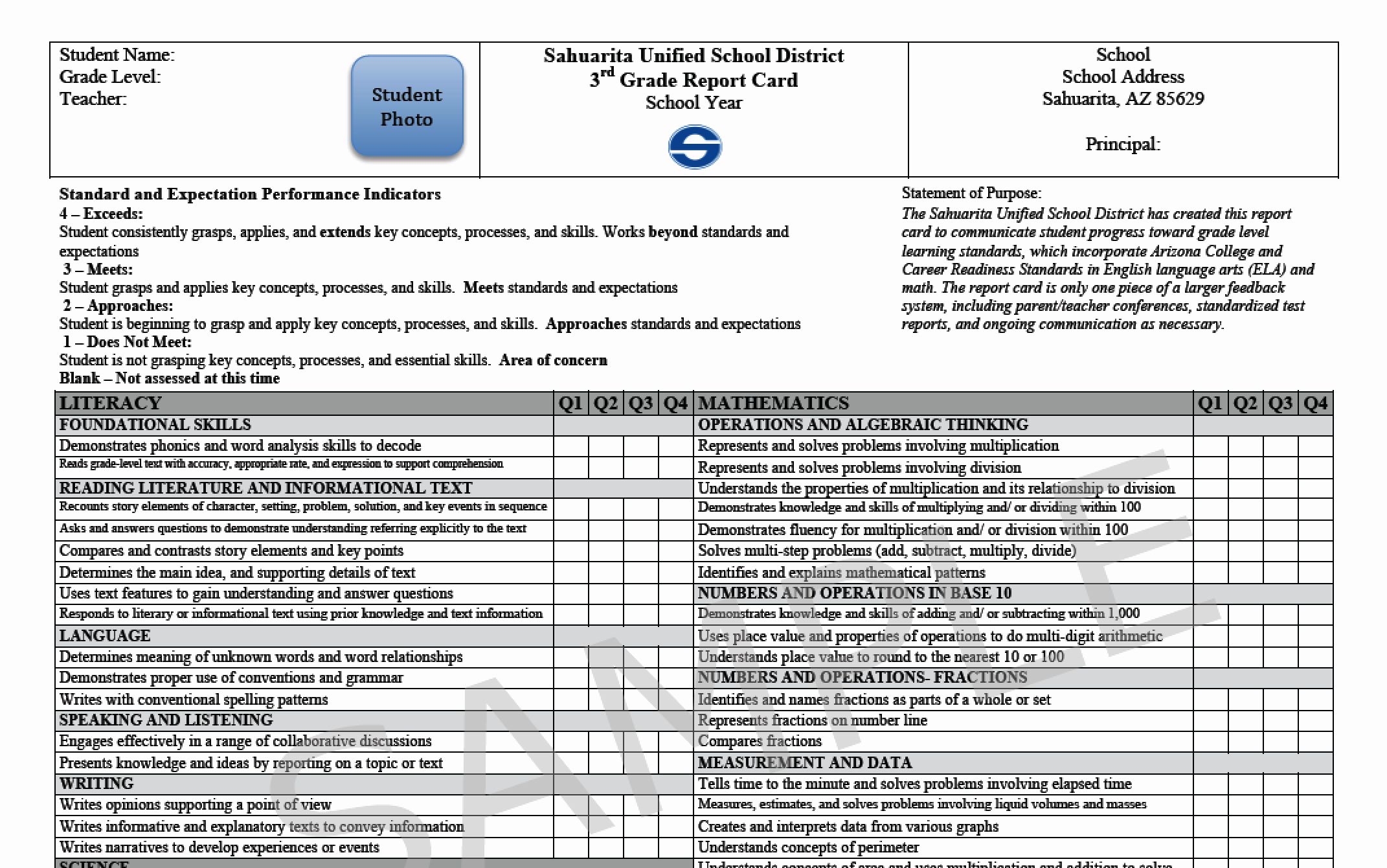 Student Report Card Template Awesome Sahuarita Unified School District Elementary Report Cards