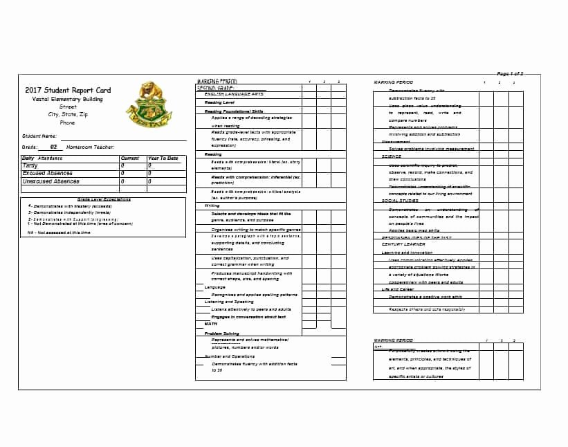 Student Report Card Template Beautiful 30 Real & Fake Report Card Templates [homeschool High