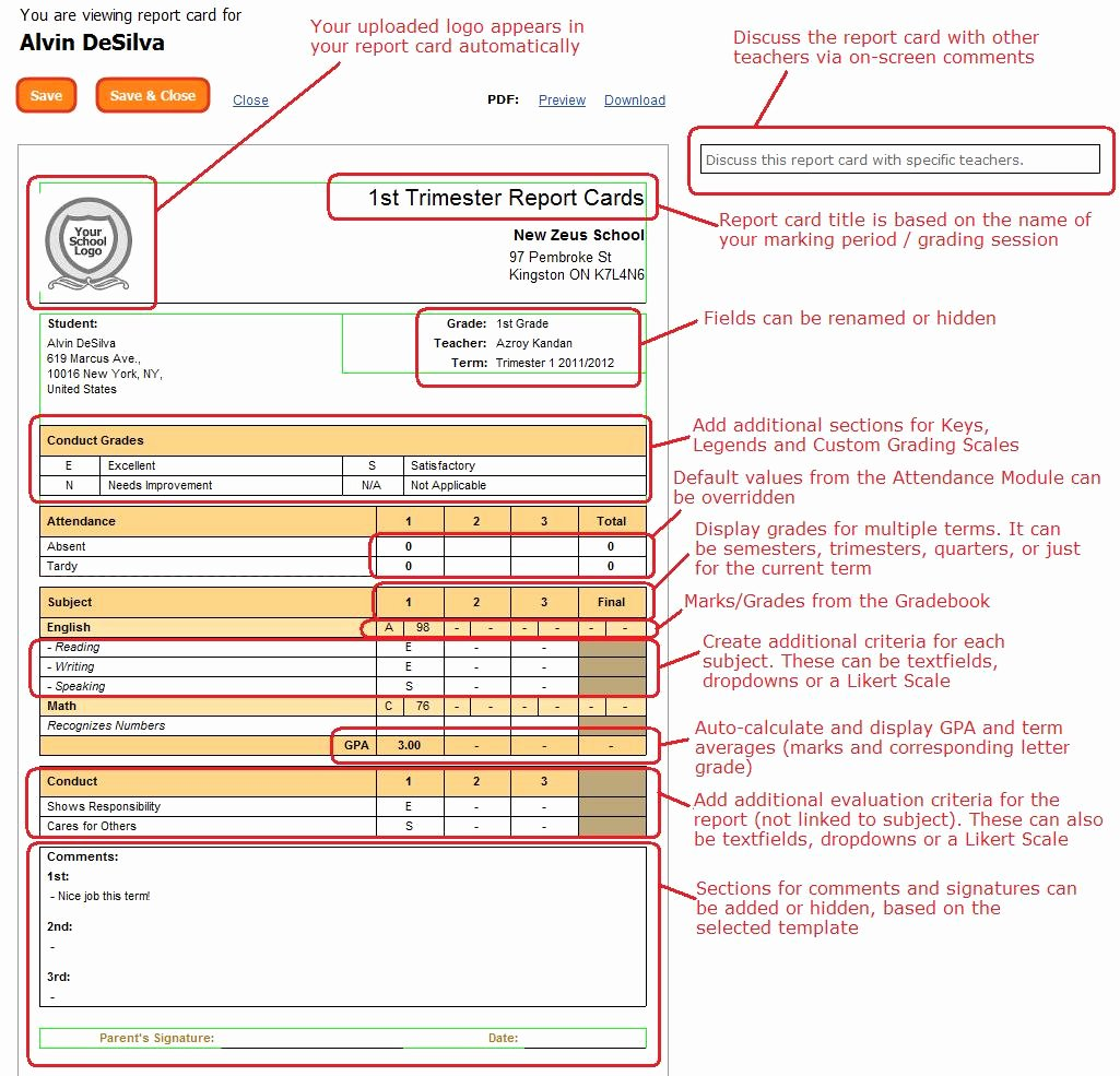 Student Report Card Template Beautiful Quickschools Report Card Features