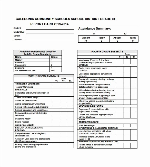 Student Report Card Template Beautiful Report Card Template Pdf Invitation Template