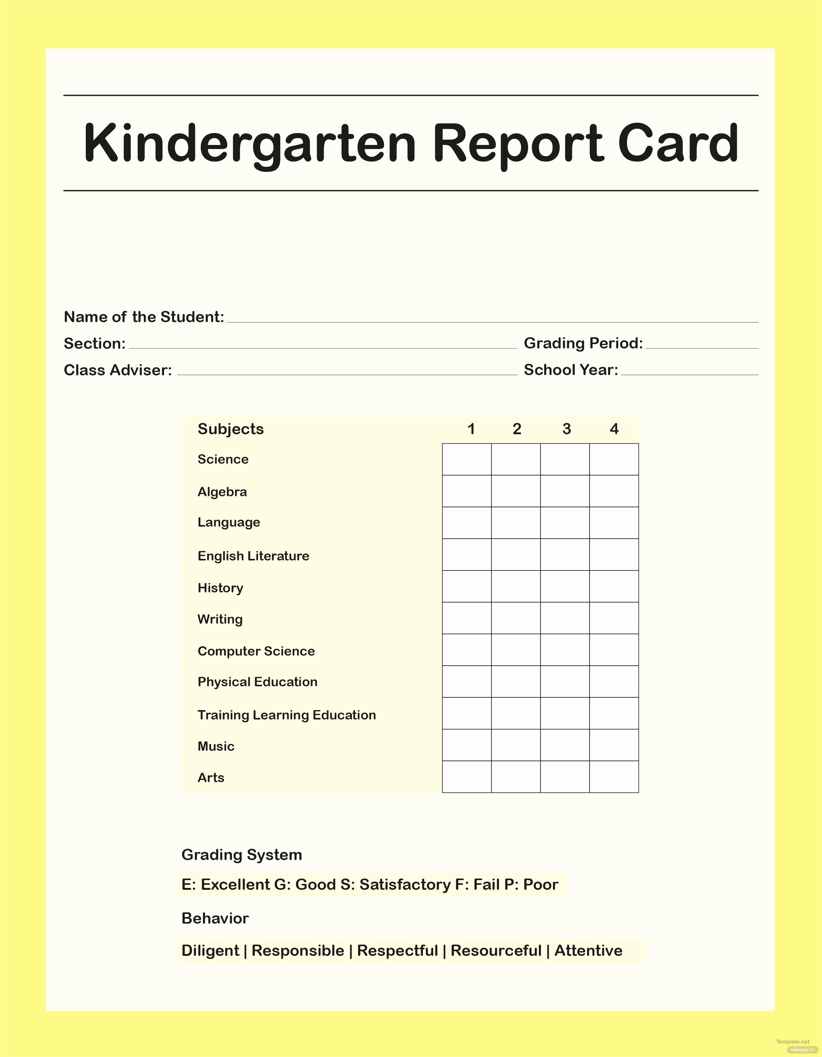 Student Report Card Template Fresh Free Kindergarten Report Card Template In Adobe Shop