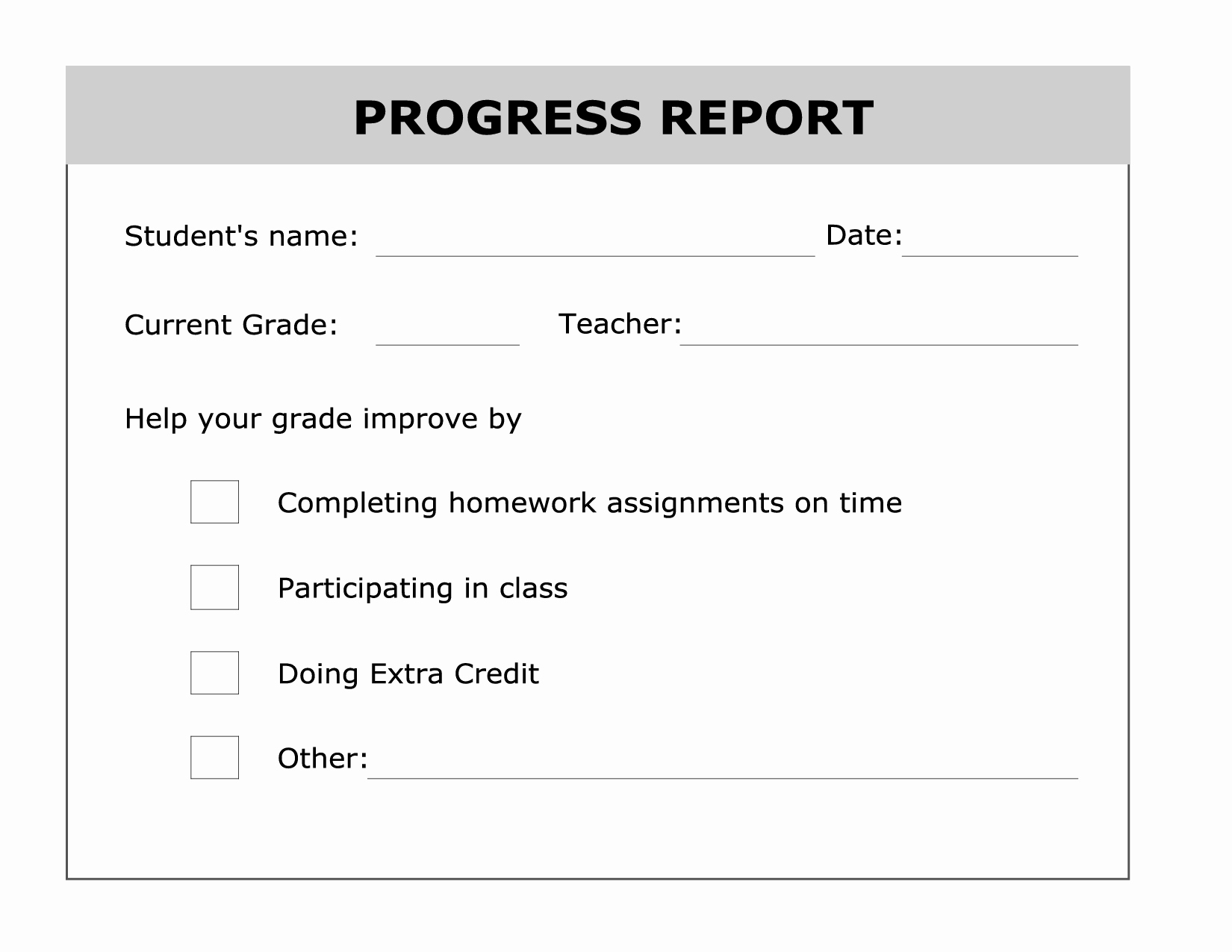 Student Report Card Template Fresh Printable Progress Report Template Good Ideas