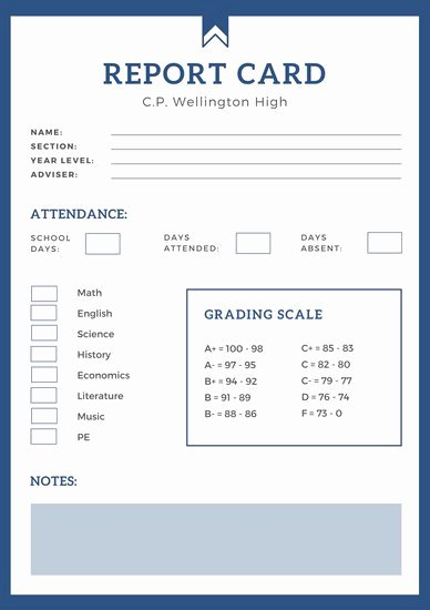 Student Report Card Template Inspirational Blue Simple High School Report Card Templates by Canva