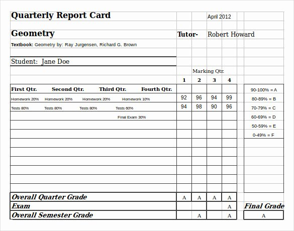Student Report Card Template Luxury 6 Sample Homeschool Report Cards