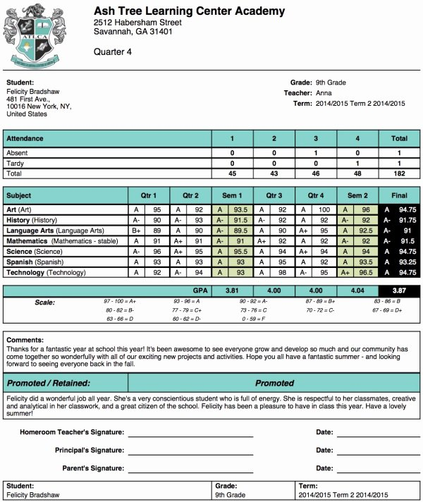 Student Report Card Template Luxury ash Tree Learning Center Academy Report Card Template