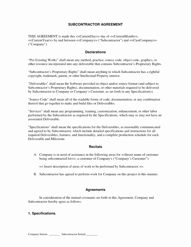 Subcontractor Non Compete Agreement Template Awesome Agreement Subcontractor Agreement