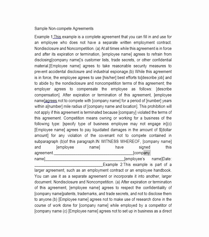 Subcontractor Non Compete Agreement Template Beautiful 7 Unique Subcontractor Non Pete Agreement Template