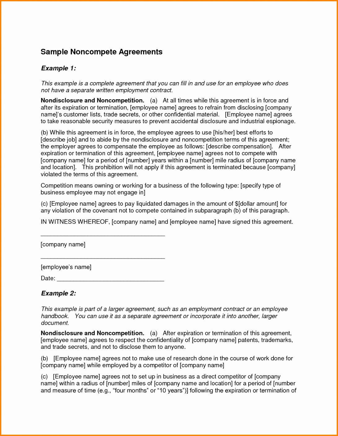Subcontractor Non Compete Agreement Template Beautiful Non Pete Agreement Florida Template