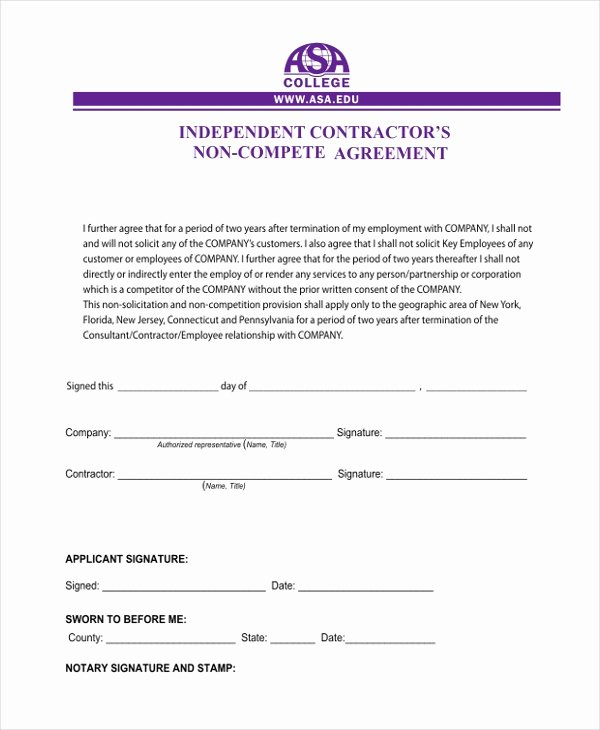 Subcontractor Non Compete Agreement Template Beautiful Sample Independent Contractor Agreement Staruptalent