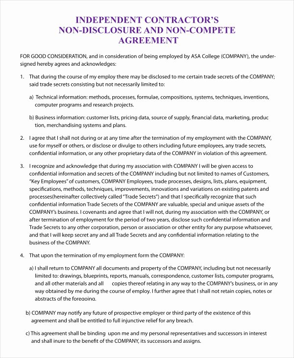 Subcontractor Non Compete Agreement Template Elegant Non Pete Agreement Template 9 Free Sample Example