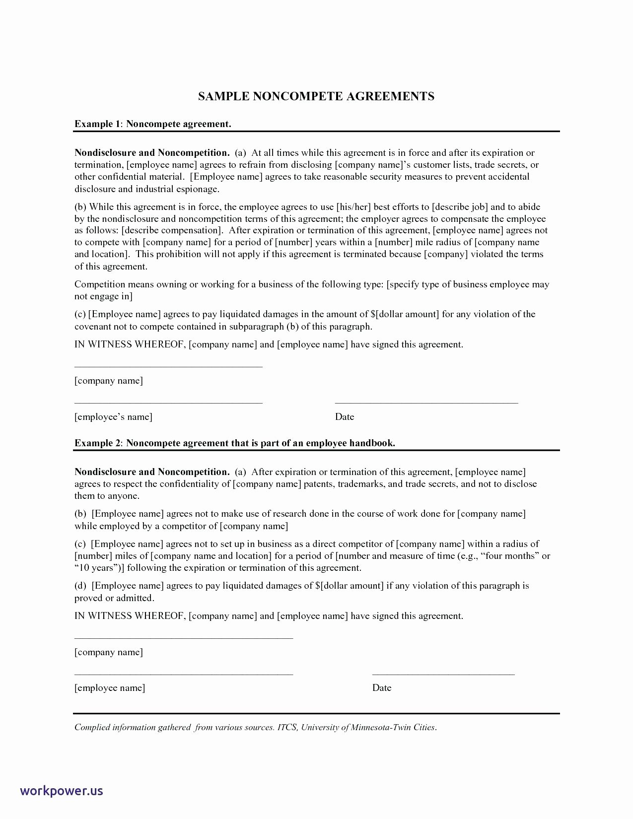 Subcontractor Non Compete Agreement Template Inspirational Non Pete Agreement Template Staruptalent
