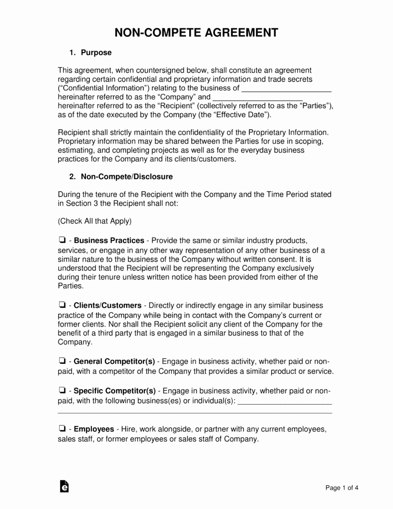 Subcontractor Non Compete Agreement Template Inspirational Non Pete Agreement Templates