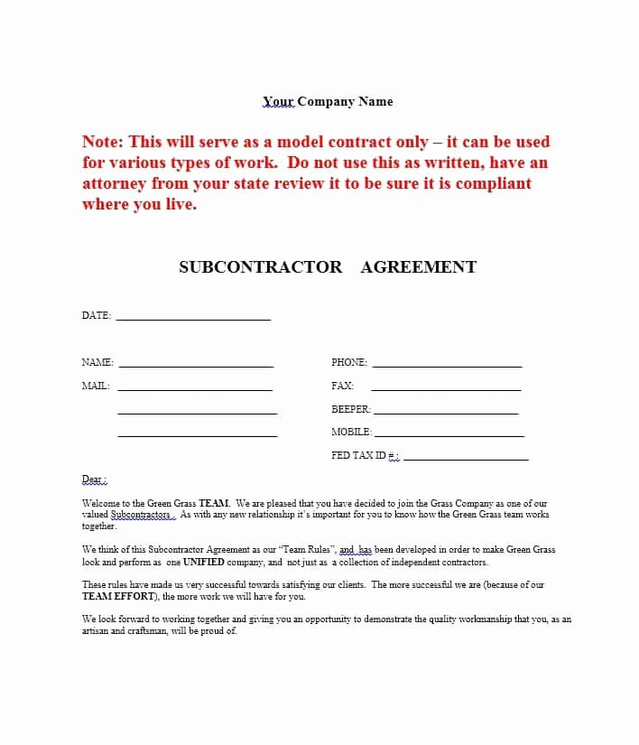 Subcontractor Non Compete Agreement Template Lovely Subcontractor Agreement