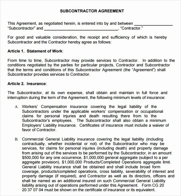 Subcontractor Non Compete Agreement Template Unique 18 Subcontractor Agreement Templates