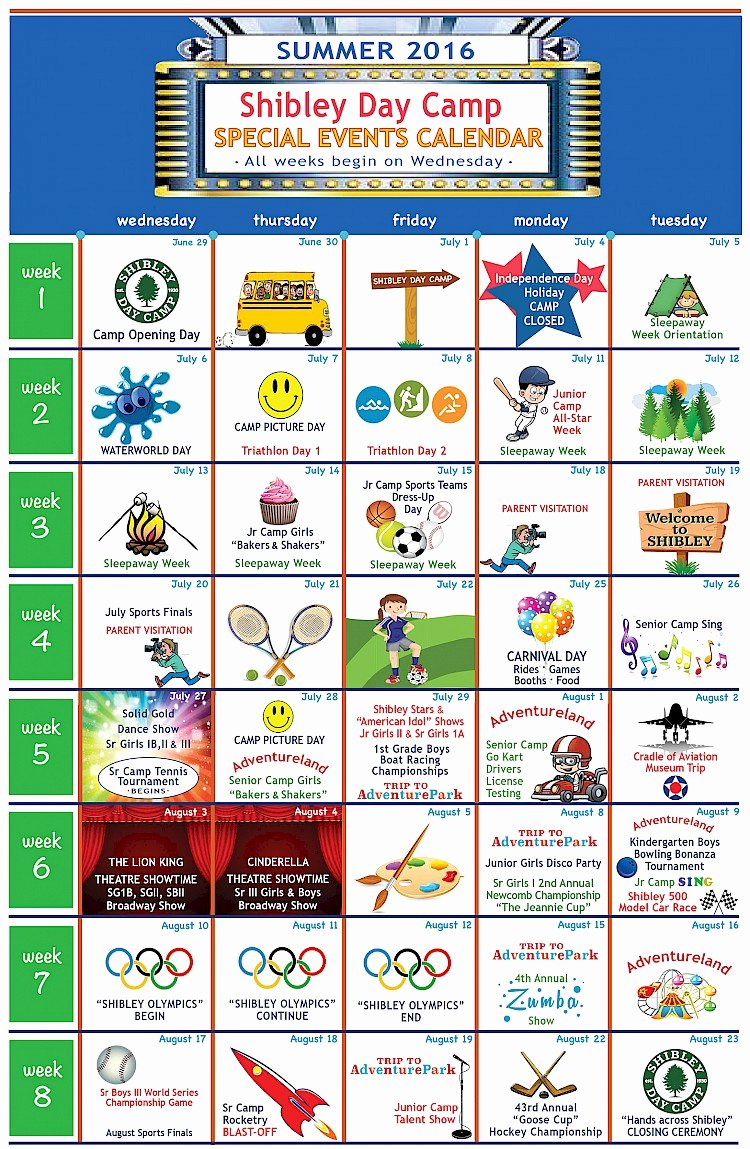 Summer Camp Daily Schedule Template Awesome 27 Of Camp Calendar Template