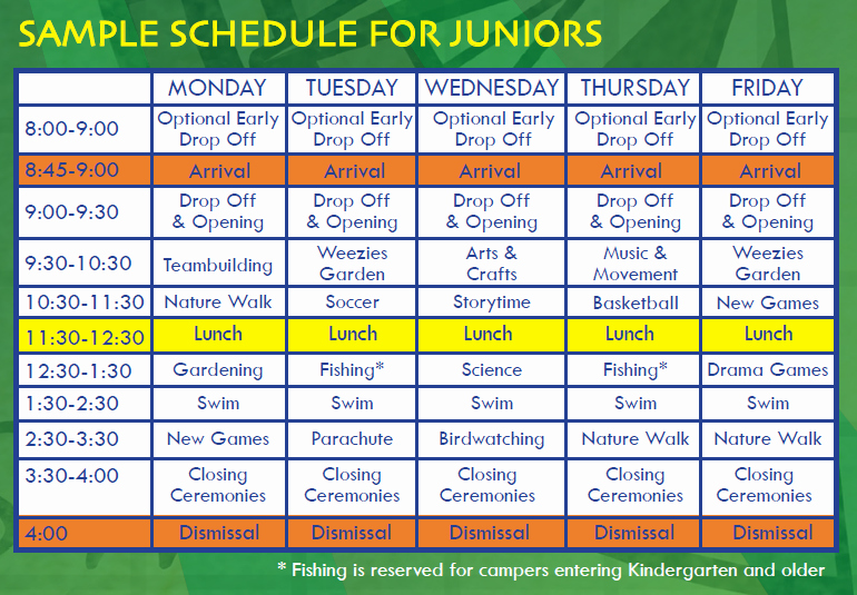 Summer Camp Daily Schedule Template Best Of Sample Schedule Outward Adventures Camps