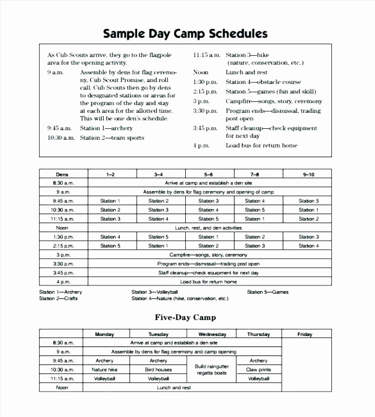 Summer Camp Daily Schedule Template Elegant Summer Camp Business Plan Template Summer Camp Business