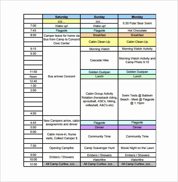 Summer Camp Daily Schedule Template Fresh 13 Camp Schedule Templates Pdf Doc