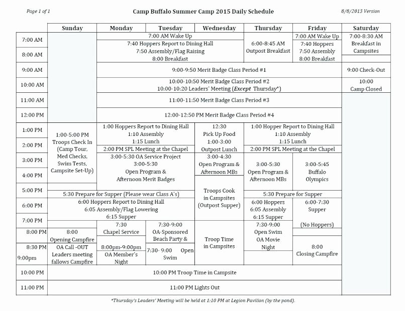 Summer Camp Daily Schedule Template Fresh 96 Summer Camp Schedule Template File
