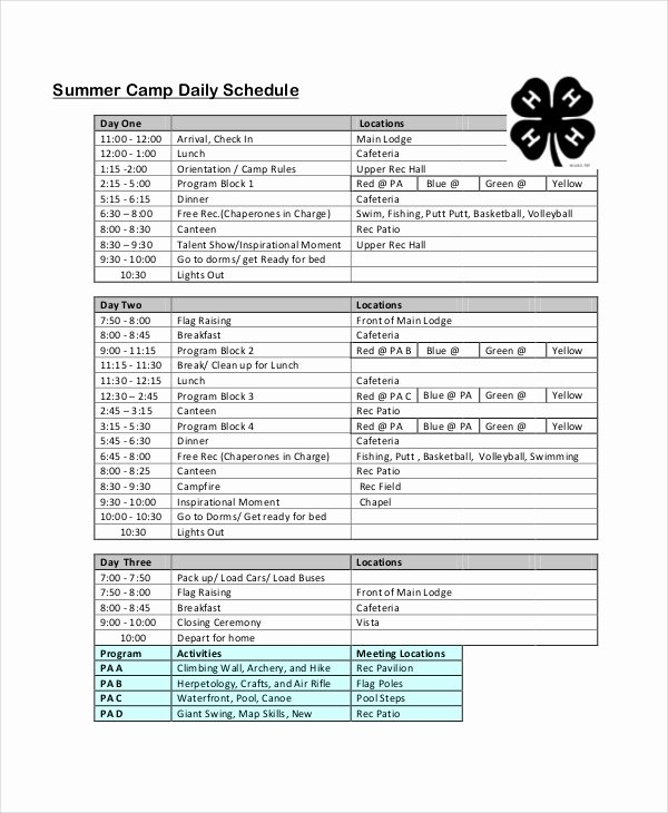 Summer Camp Daily Schedule Template Fresh Daily Schedule Template 9 Free Word Pdf Documents