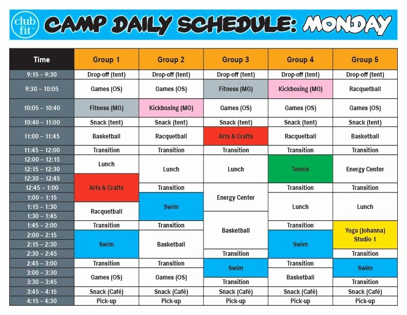 Summer Camp Daily Schedule Template Inspirational Contoh Daily Activity Monday Contoh Kr