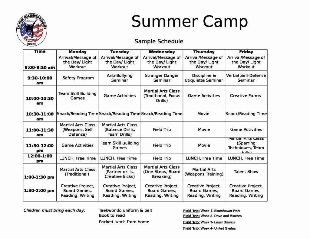 Summer Camp Daily Schedule Template Inspirational Summer Camp Schedule Bing Images