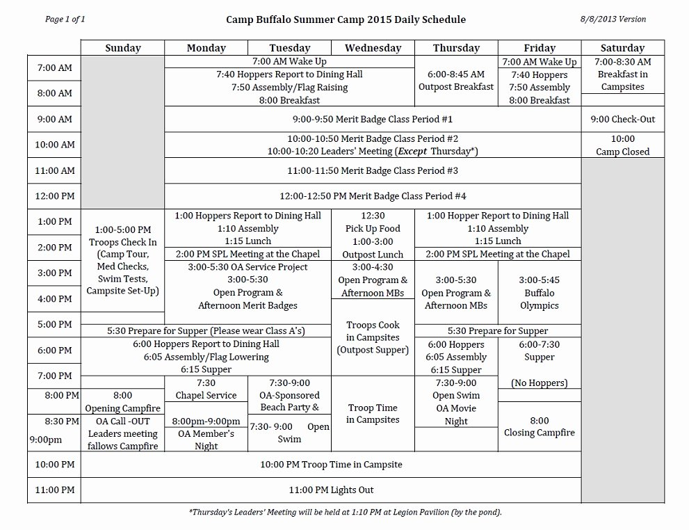 Summer Camp Daily Schedule Template Lovely Summer Camp Daily Schedule Camp Buffalo Sagamore