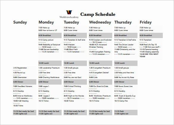 Summer Camp Daily Schedule Template Luxury 9 Camp Schedule Templates Doc Pdf
