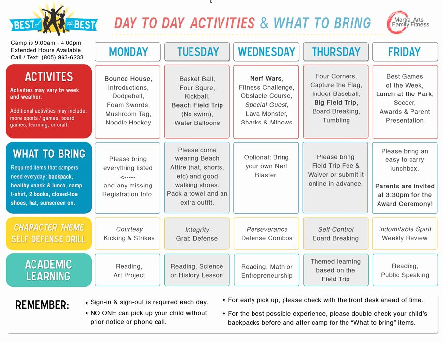 Summer Camp Daily Schedule Template Luxury Summer Day Camp Activities Schedule Bing Images