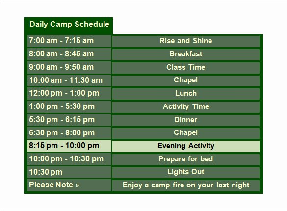 Summer Camp Daily Schedule Template New 13 Camp Schedule Templates Pdf Doc