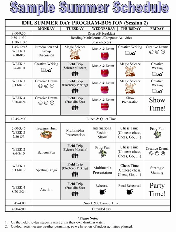 Summer Camp Daily Schedule Template New Idiil Summer