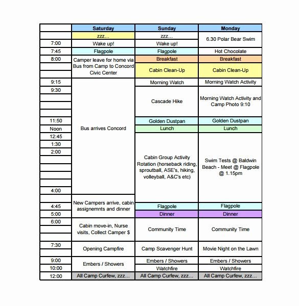 Summer Camp Daily Schedule Template New Summer Camp Business Plan Template