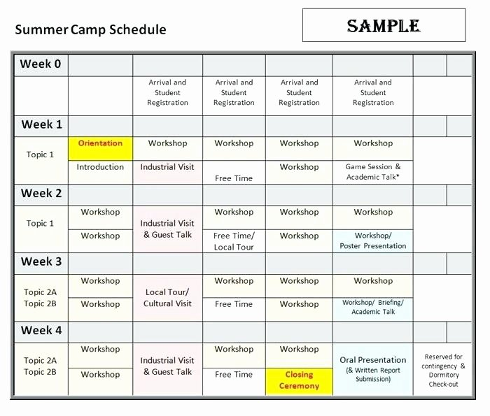 Summer Camp Daily Schedule Template New Summer Camp Daily Schedule Template