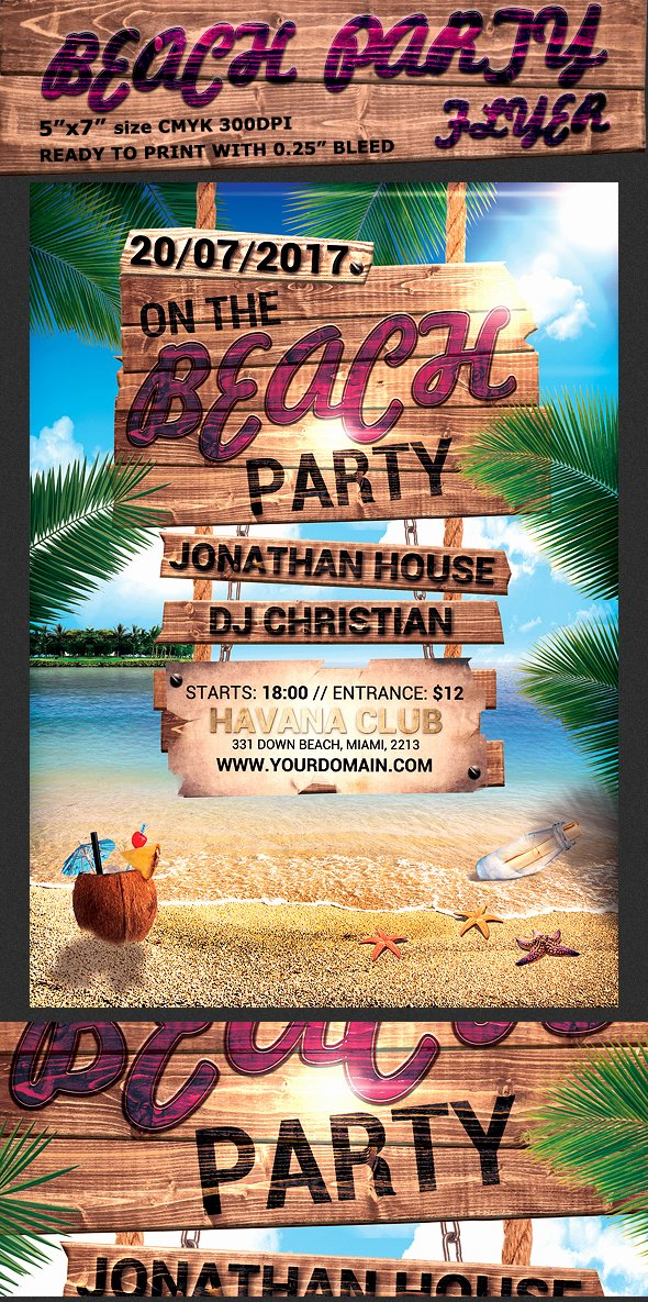 Summer Party Flyer Template Awesome Summer Beach Party Flyer Template