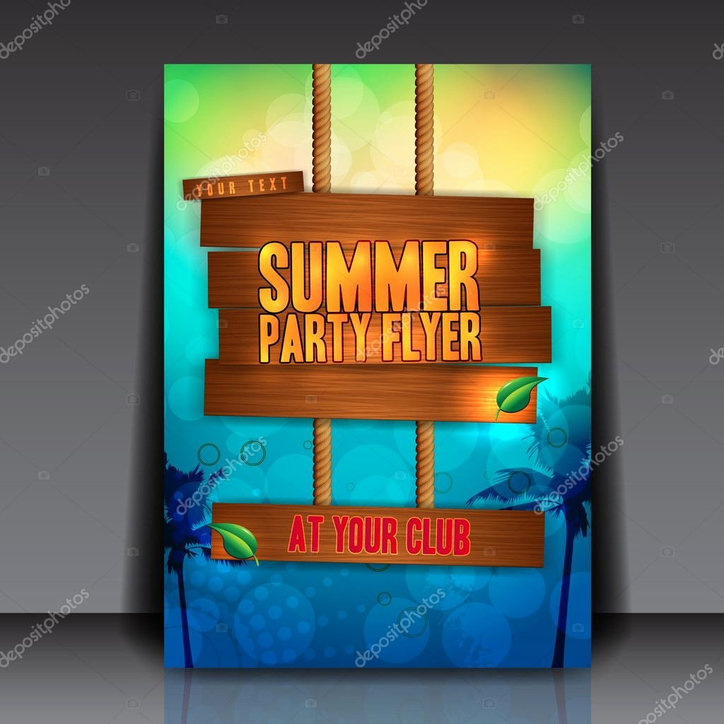 Summer Party Flyer Template Awesome Summer Party Flyer Template — Stock Vector © Hunthomas