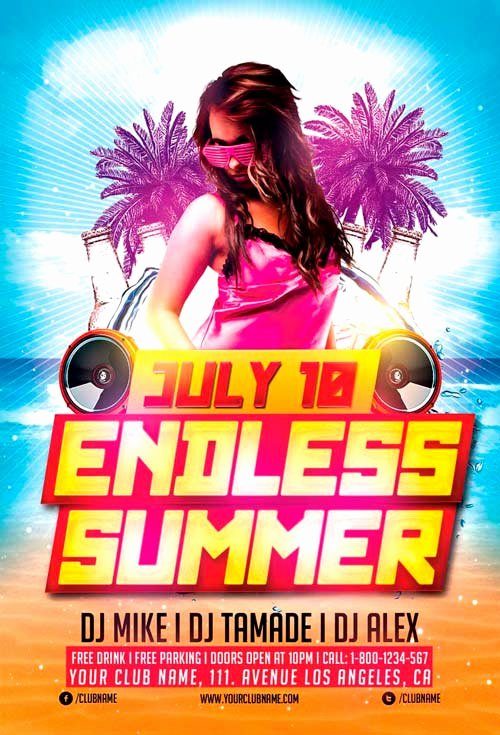 Summer Party Flyer Template Beautiful Download Endless Summer Party Flyer Template for Shop
