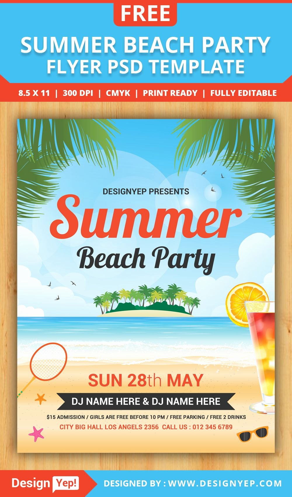 Summer Party Flyer Template Beautiful Free Summer Beach Party Flyer Psd Template Desingyep