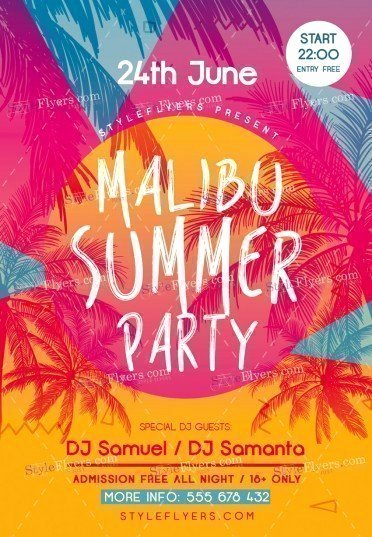 Summer Party Flyer Template Beautiful Malibu Summer Party Psd Flyer Template Styleflyers