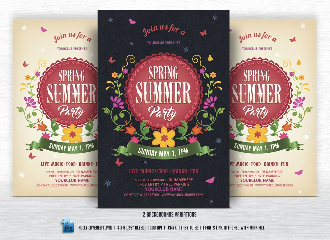 Summer Party Flyer Template Beautiful Spring Summer Party Flyer Flyer Templates Creative Market