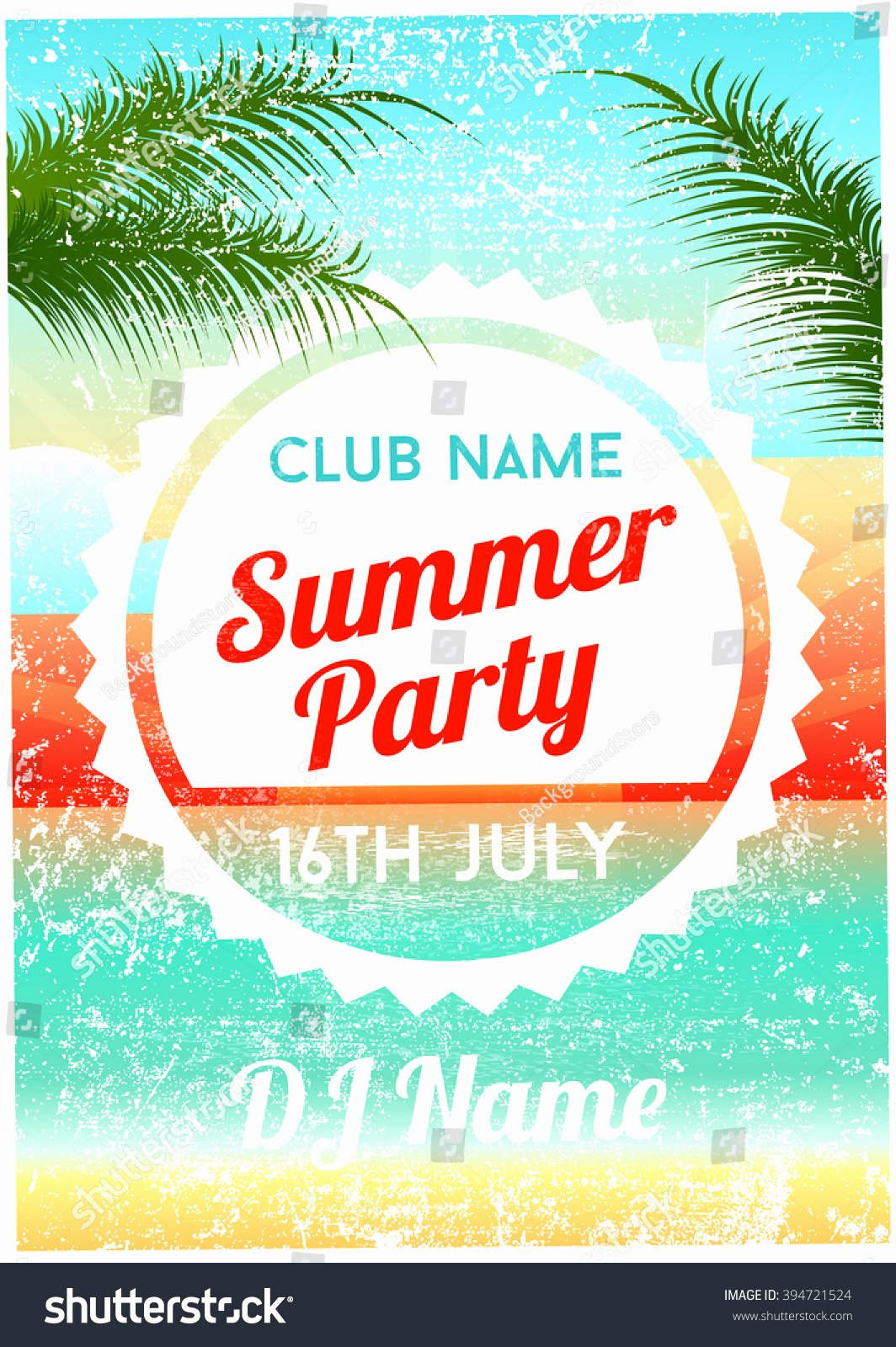 Summer Party Flyer Template Beautiful Summer Party Poster Flyer Template Stock Vector